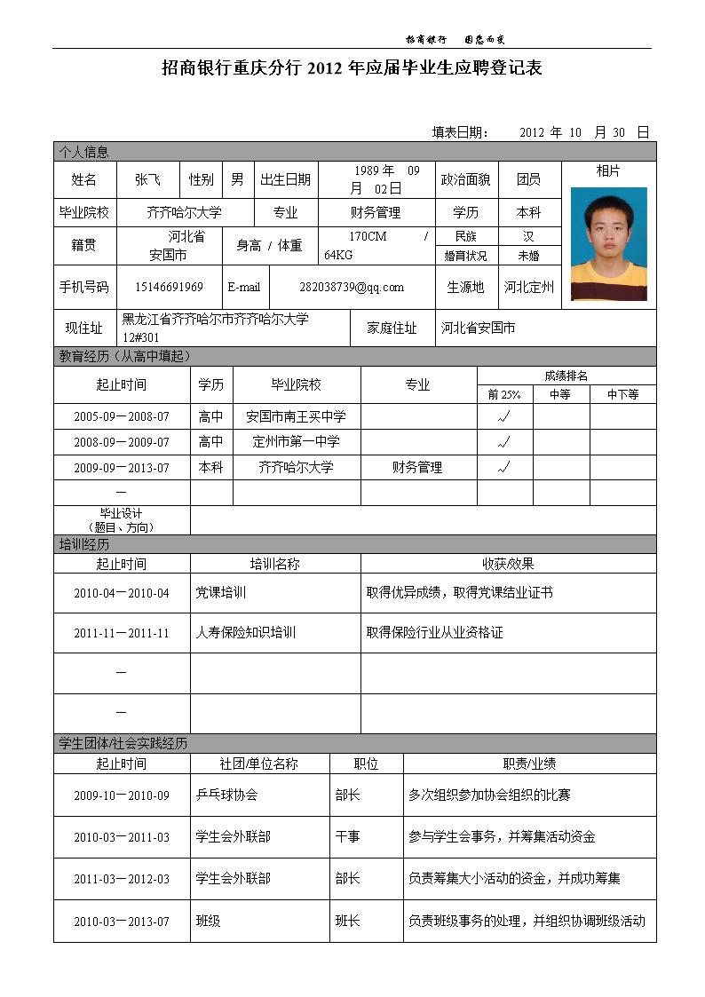 2015招商银行简历投递申请表.doc图片