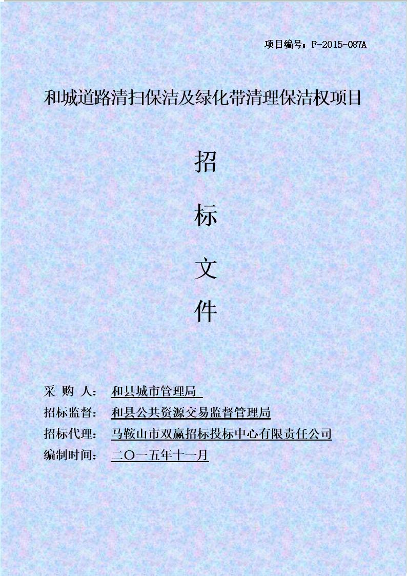 安徽某市政道路清扫保洁及绿化带清理保洁权项目招标文件.doc