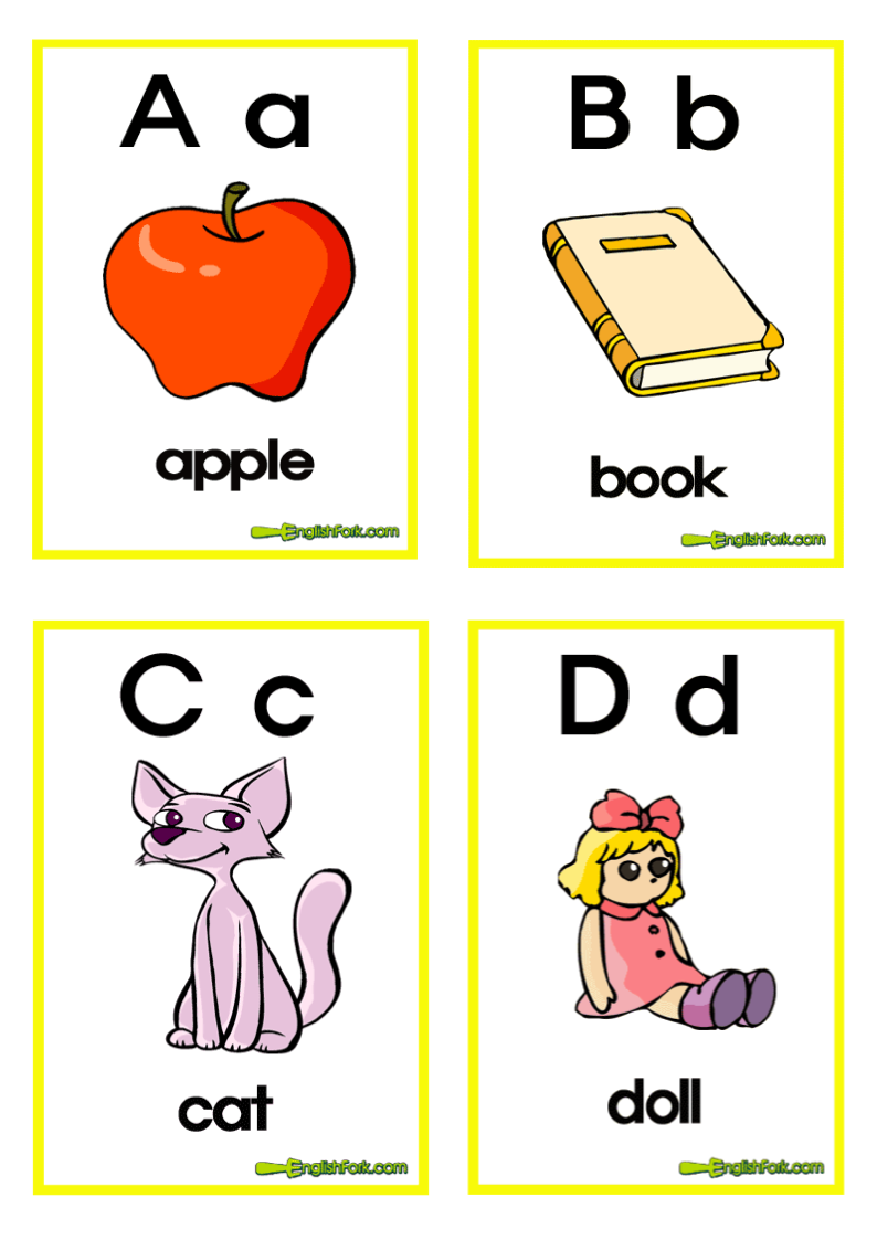小学英语字母卡片(图片)带简单单词.doc