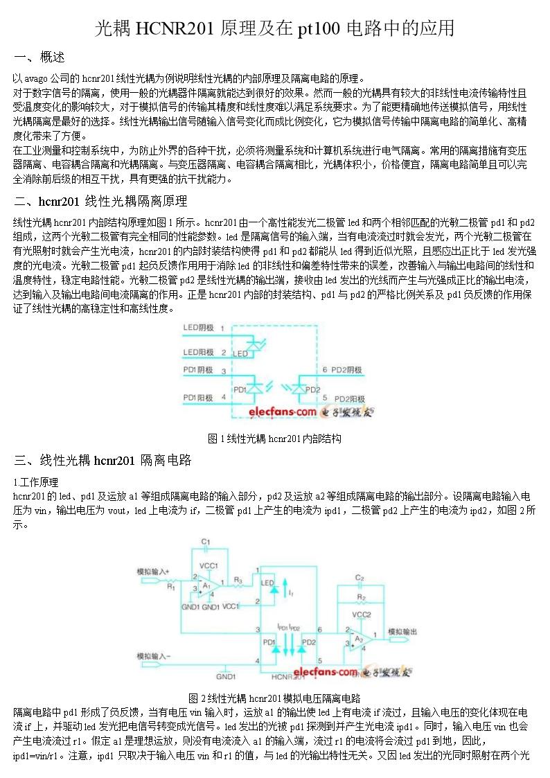 光耦hcnr201原理及在pt100电路中的应用.docx