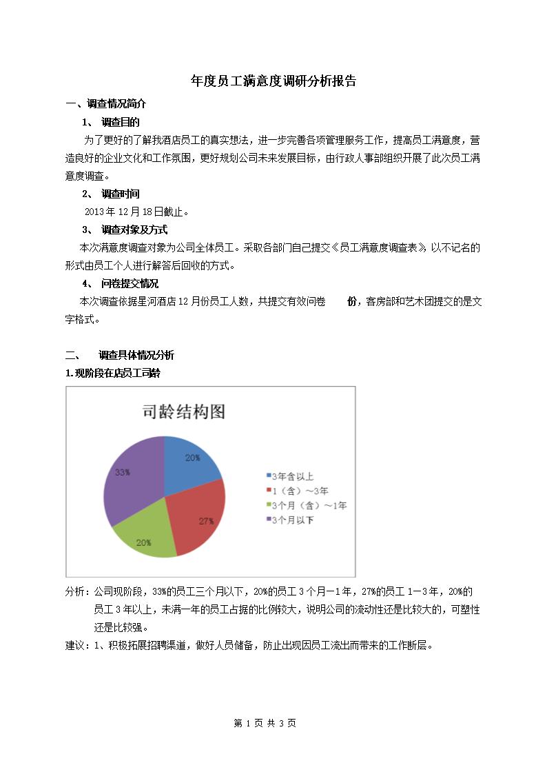 年度员工满意度调查问卷之分析报告.doc