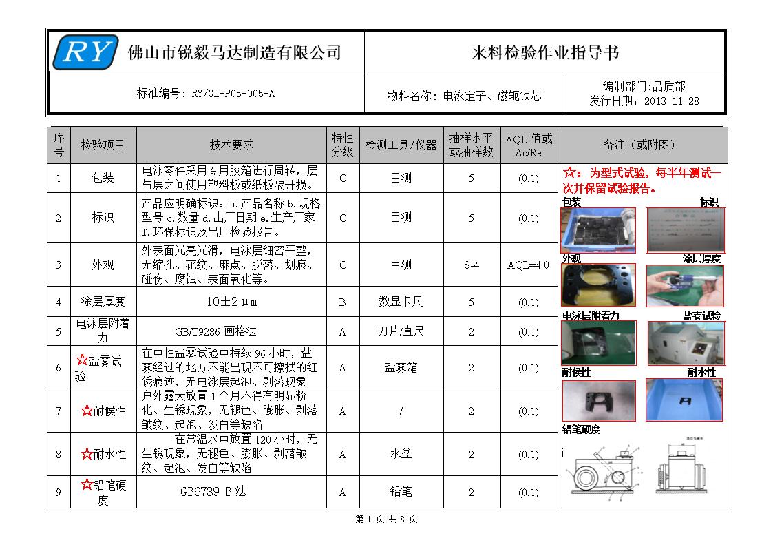 5-电泳零部件来料检验作业指导书ry-gl-p05-005-a答辩