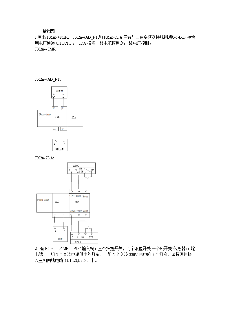 一:绘图题1.画出FX2n-48MR,FX2n-4AD_PT,和FX2n-2DA三者与二台变频器接线图,要求4AD模块用电压通道CH1.CH2,2DA模块一路电流控制.另一路电压控制。FX2n-48MR:FX2n-4AD_PT:FX2n-2DA:2.有FX2n24MRPLC.输入端:三个按扭开关,两个限位开关.一个磁开关(传感器);输出端:一组5个直流电源供电的灯泡,二组5个交流220V供电的5个灯泡,试将硬件接入三相四线电路(L1,L2,L3,N)中。二:编程题用DECO指令编写三相六拍步进电机控制.