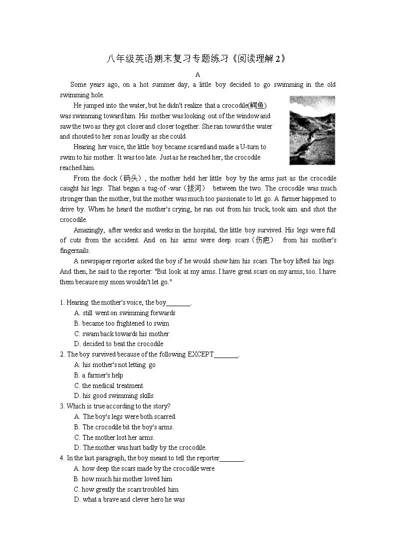八年级英语期末复习专题练习阅读理解2.doc