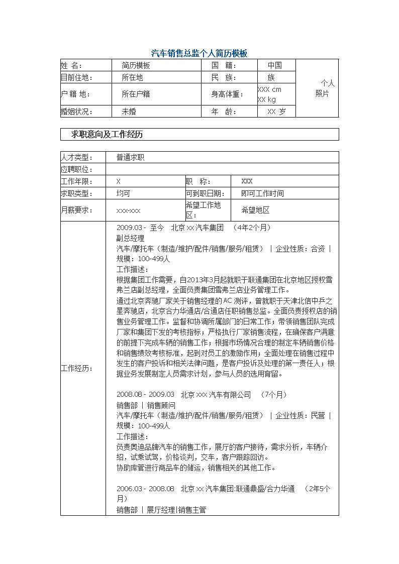 2012汽车销售总监个人简历模板.doc