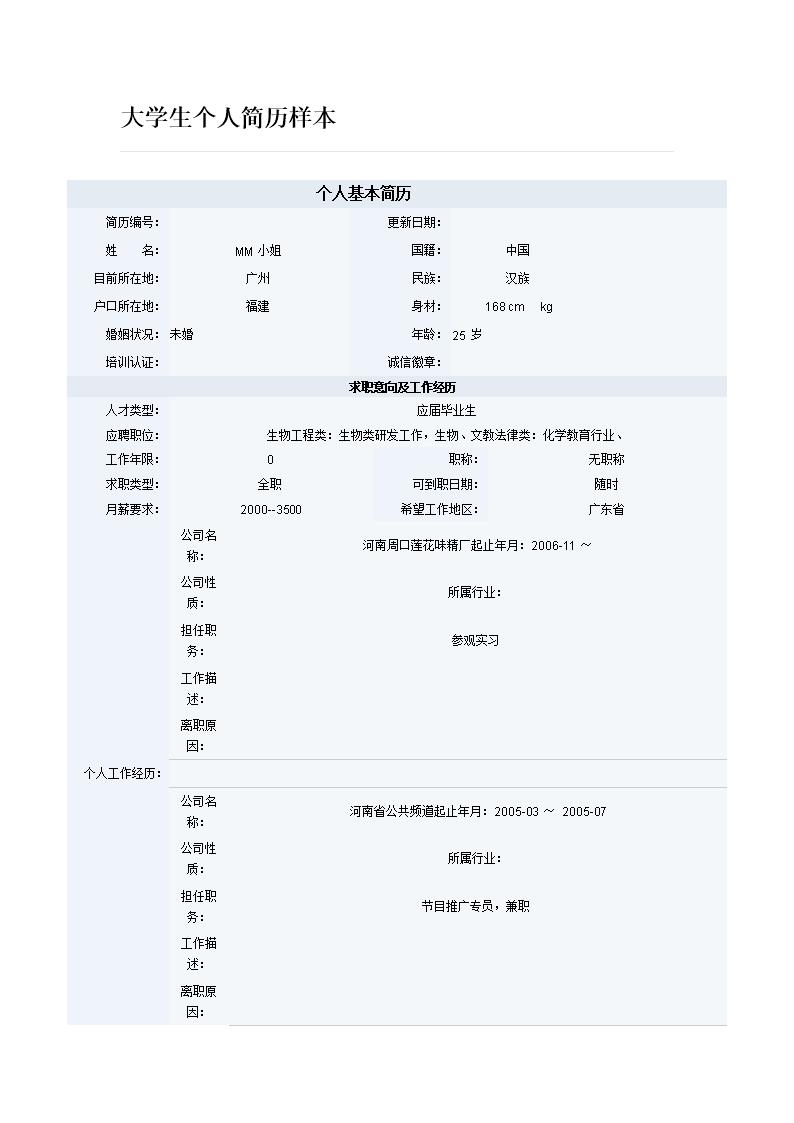 大学生个人简历样本.doc