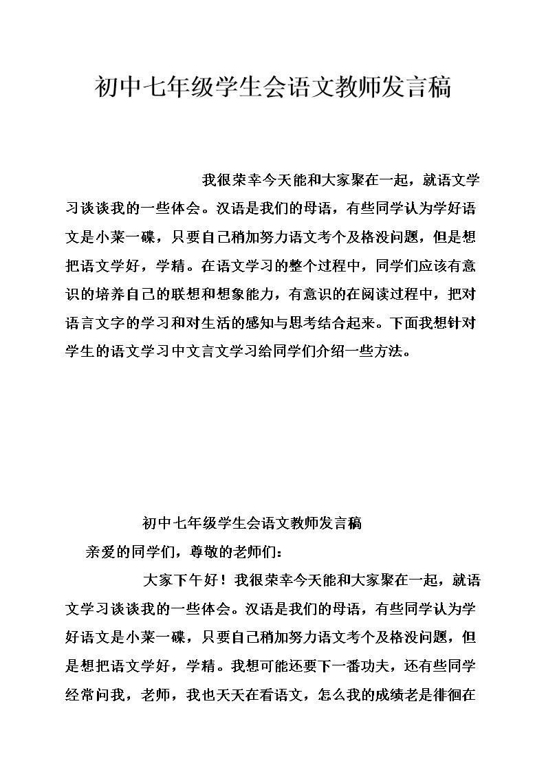 初中七初中年级语文教师发言稿.doc学生分数线大唐济宁市图片