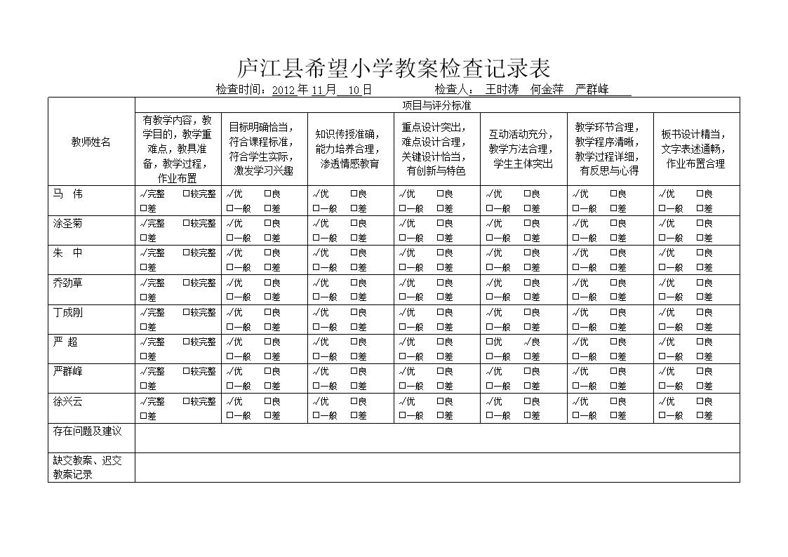 庐江县欢迎常规x年级教学各种v常规记录表.doc四小学做个受希望的人教学设计图片