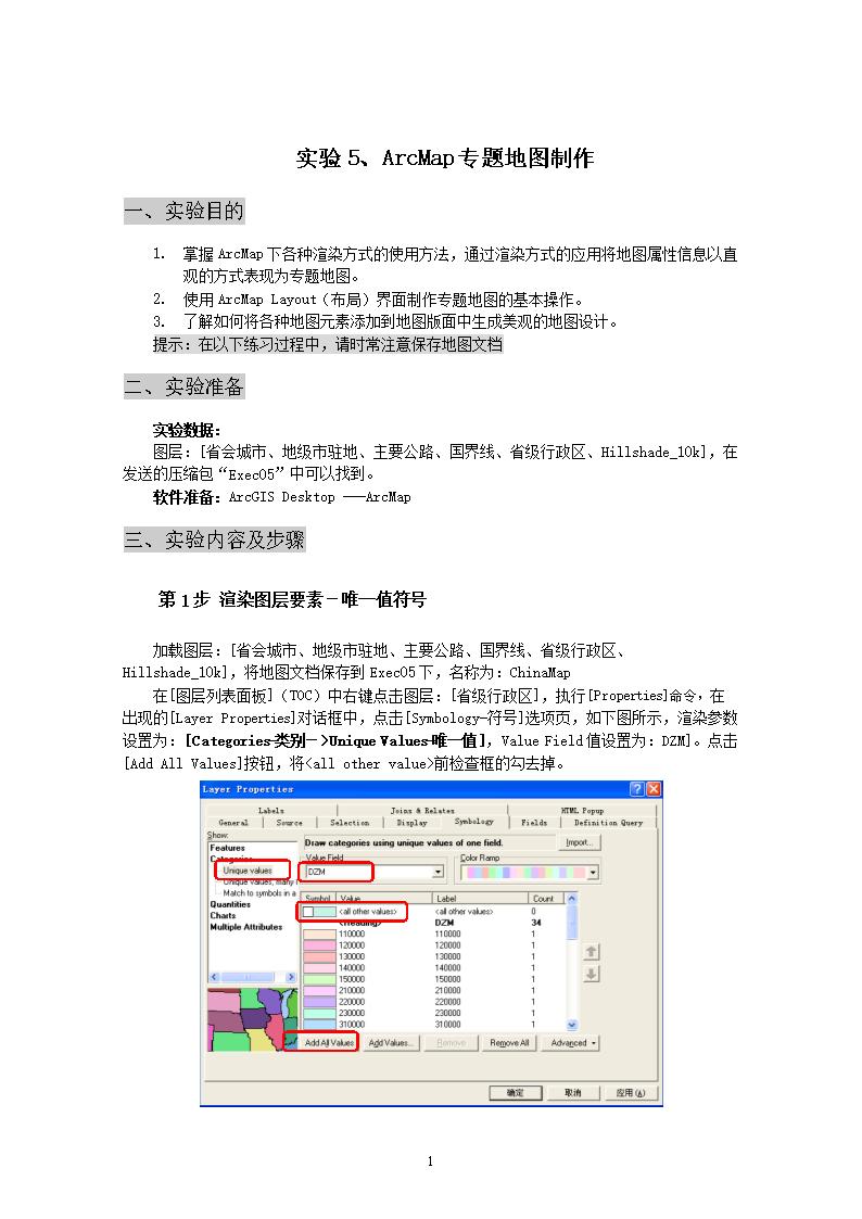 土地信息系统实验5arcmap专题地图制作.doc