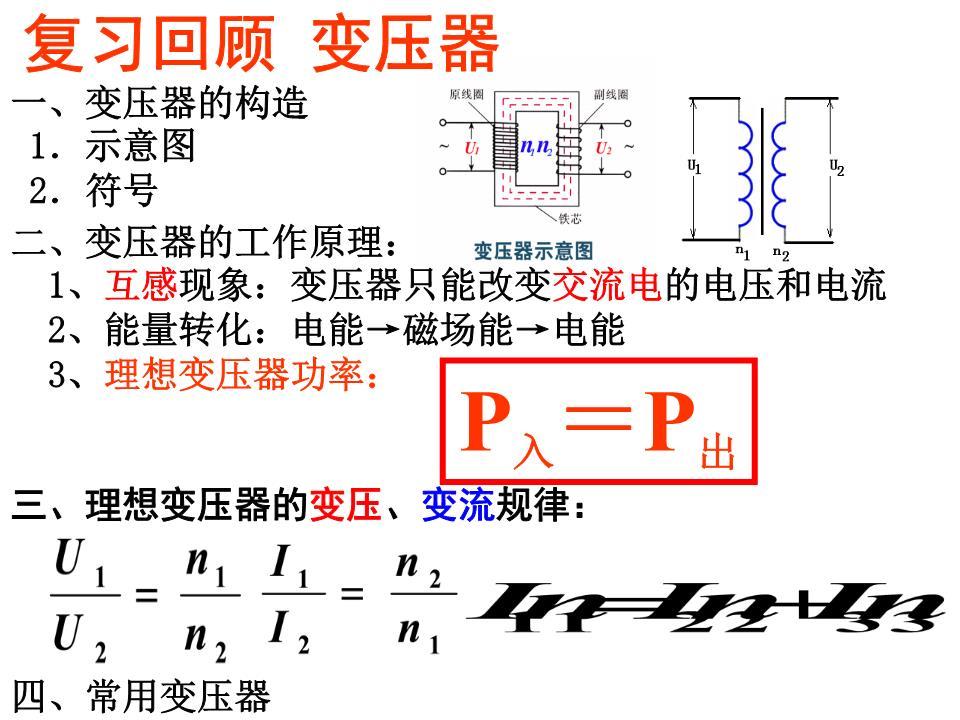 交流高压输电的基本环节1.发电厂发电机的输出电压为U1,发电厂至学校的输电线电阻为R,通过导线的电流为I,学校输入电压为U2,下列4个计算输电线损耗的功率式子中,不正确的是()A、B、C、D、输送电路的计算步骤(1)画出供电示意图(2)以变压器铁心为界,分出各个回路,各回路可独立运用欧姆定律分析.