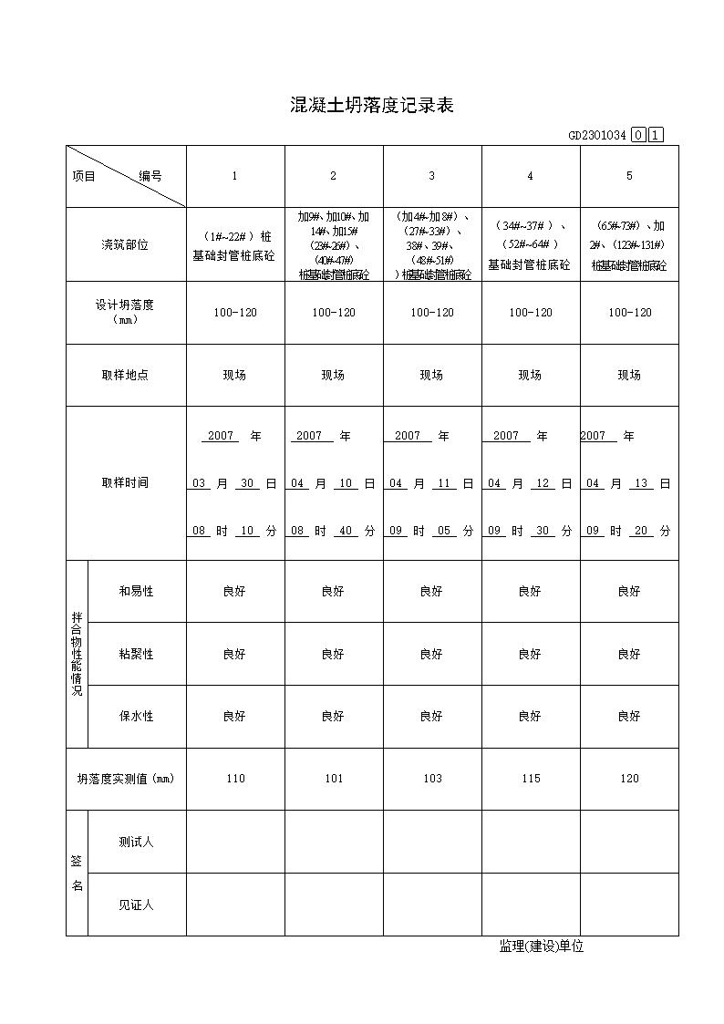 混凝土坍落度检测记录表.doc