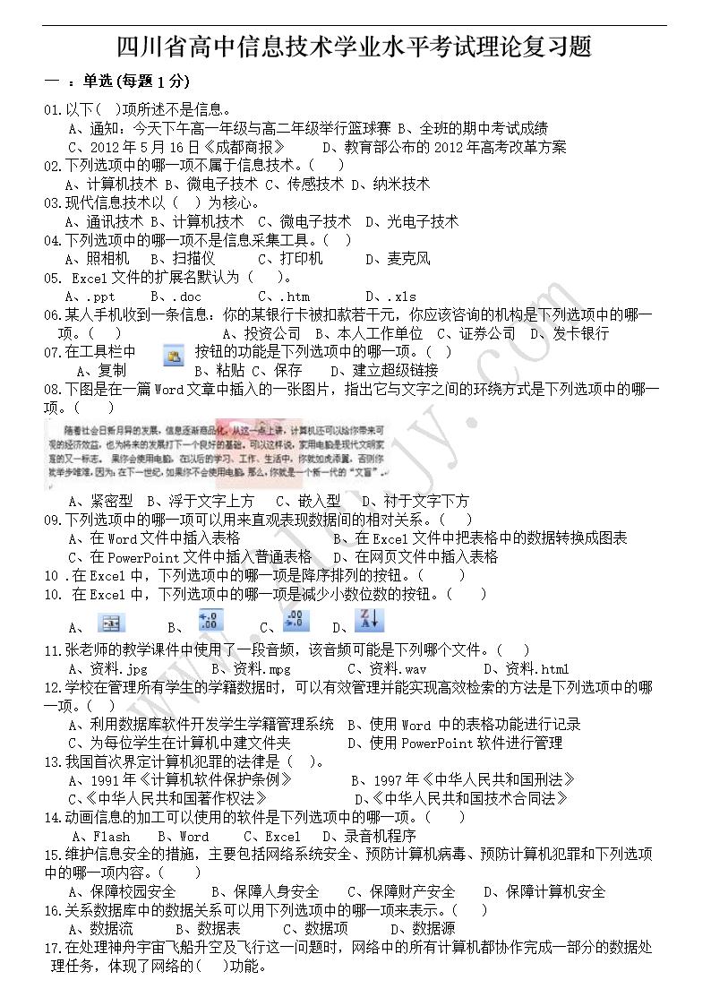 2012年四川省物理高中现象水平考试复习题.d技术静电信息学业图片