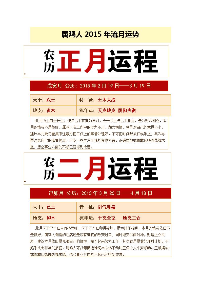 属鸡人2015年流月运势.doc