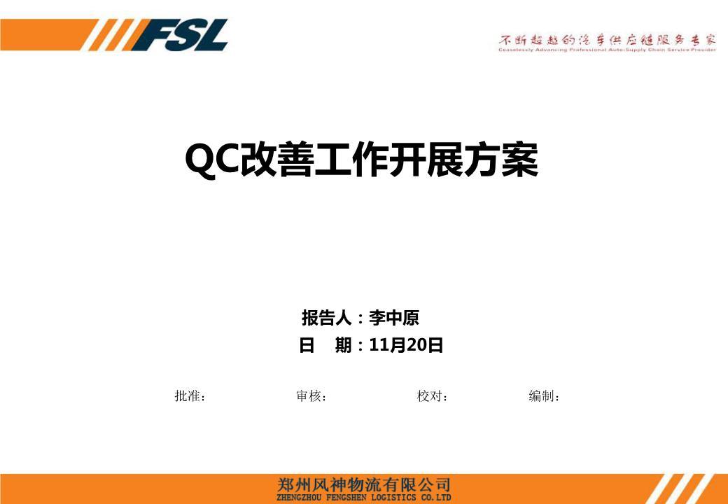QC改善工作开展方案报告人:李中原日期:11月20日批准:审核:校对:编制:目录21435计划重点工作说明QCC改善现状工作开展思路协助事项一、QCC改善工作开展现状?1.QCC工作开展目的及职责1、每季度各部门提报一篇QCC改善;作管部每季度末月20日前召开初评会作管部每季度末月底召开改善发表会公司对QCC改善事项进行奖励作管部监对QCC进行过程管控,保证QCC确实执行。6.