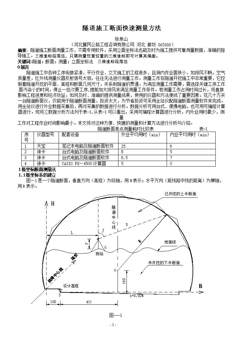 隧道施工断面快速测量方法206011020465726隧道施工断面快速测量方法2