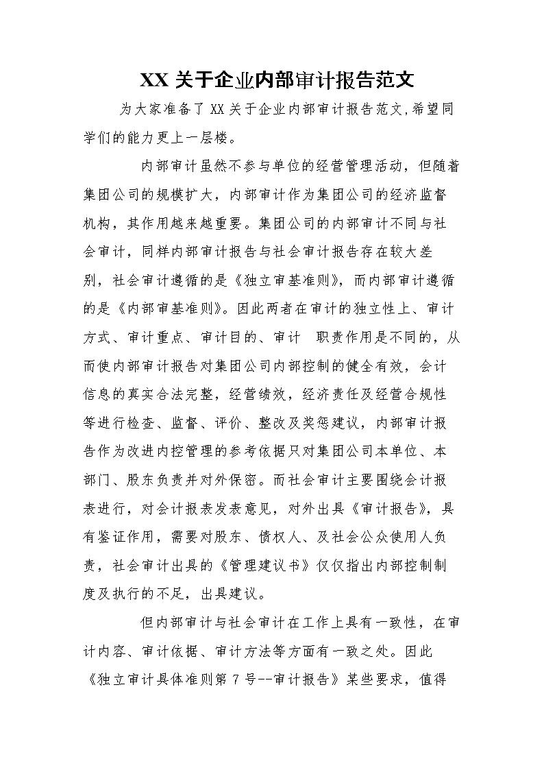 XX关于企业内部审计报告范文.doc
