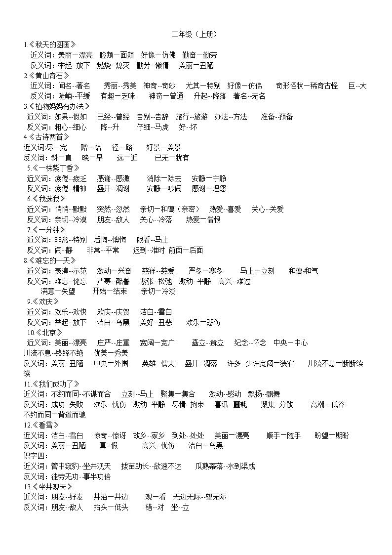 小学1-6年级近义词反义词.doc